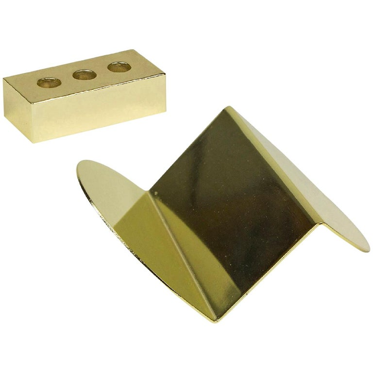 Set of Brass Pen Brick and Wave Business Card Holder from Souda, in Stock For Sale