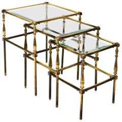 Set of Brass Side Tables
