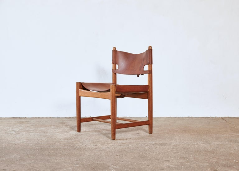 Set of early Børge 'Borge' Mogensen Spanish Dining Chairs, Denmark, 1960s 3