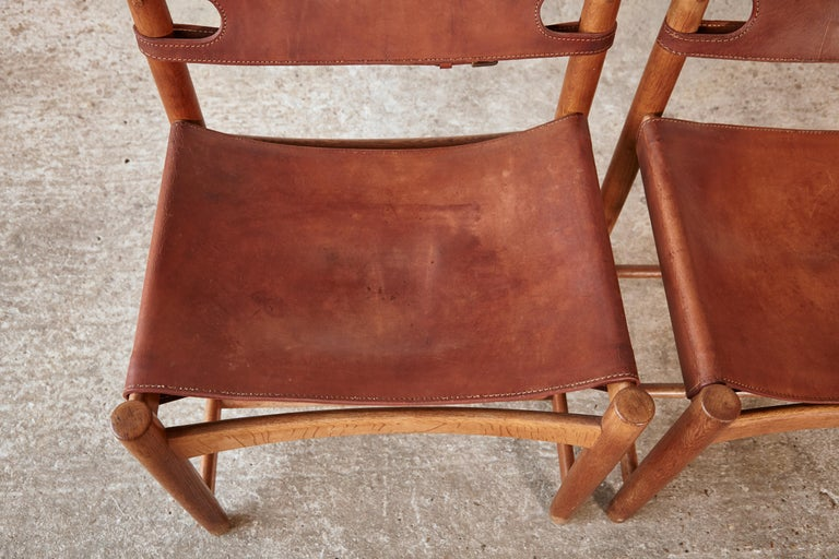 Set of early Børge 'Borge' Mogensen Spanish Dining Chairs, Denmark, 1960s 7
