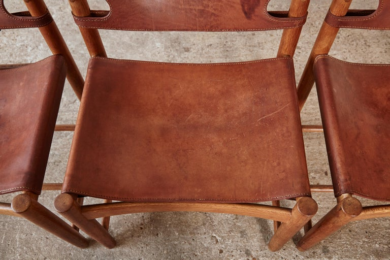 Set of early Børge 'Borge' Mogensen Spanish Dining Chairs, Denmark, 1960s 8