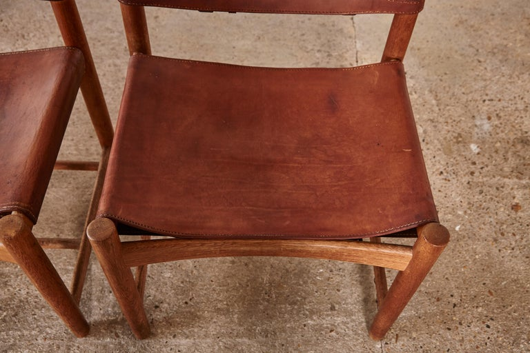 Set of early Børge 'Borge' Mogensen Spanish Dining Chairs, Denmark, 1960s 10