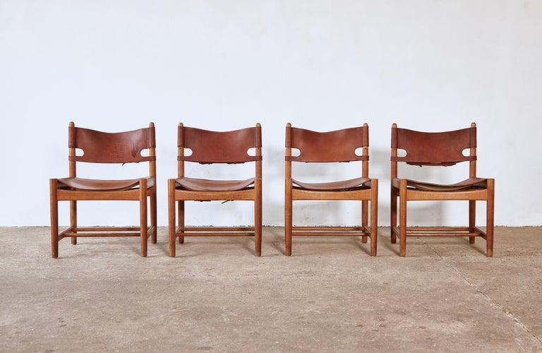 Mid-Century Modern Set of early Børge 'Borge' Mogensen Spanish Dining Chairs, Denmark, 1960s