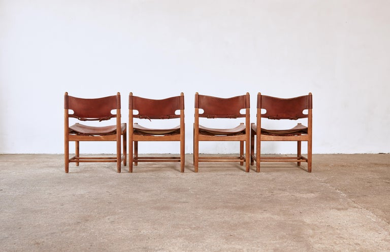 Danish Set of early Børge 'Borge' Mogensen Spanish Dining Chairs, Denmark, 1960s