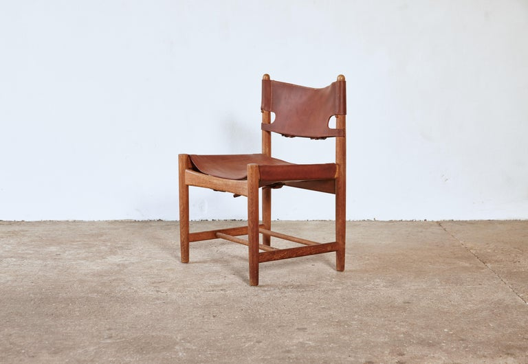 20th Century Set of early Børge 'Borge' Mogensen Spanish Dining Chairs, Denmark, 1960s