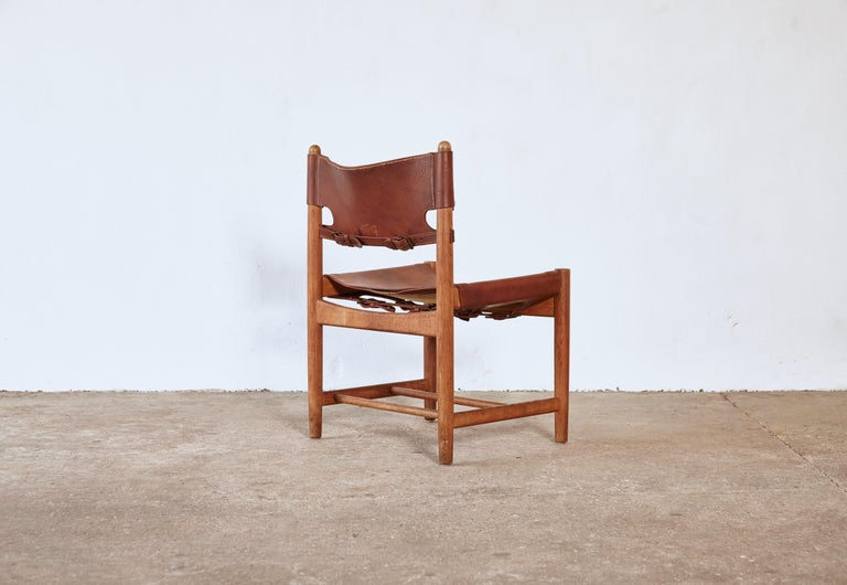 Leather Set of early Børge 'Borge' Mogensen Spanish Dining Chairs, Denmark, 1960s