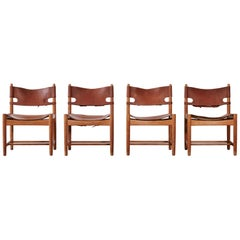 Set of early Børge 'Borge' Mogensen Spanish Dining Chairs, Denmark, 1960s