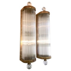 Set of Bronze and Glass Rods Sconces, Sold Per Pair