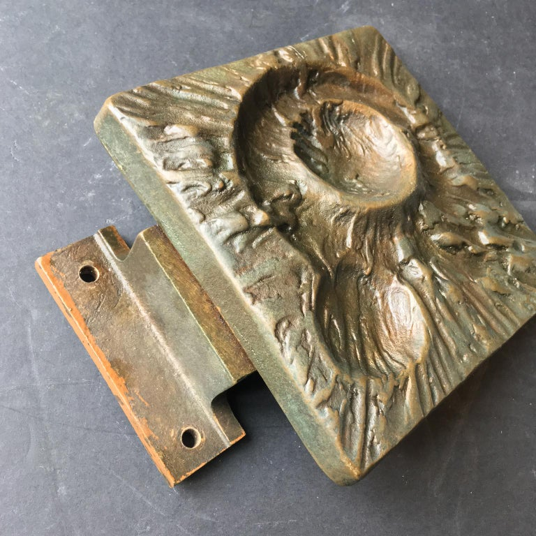 Set of Two Bronze Door Handles with Lunar Landscape Design, European, 1970s For Sale 1