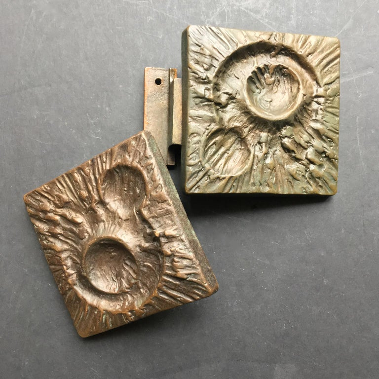 Set of Two Bronze Door Handles with Lunar Landscape Design, European, 1970s For Sale 3