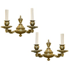 Set of Bronze English Sconces, Sold Per Pair