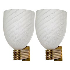Set of Bronze Sconces with Murano Glass Shades, Sold in Pairs