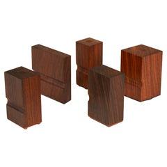 Set of Bruno Munari for Danese Rosewood Rubber Mail Stamps
