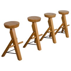 Set of Brutalist Bar Stools Made from Solid Oak, 1960s