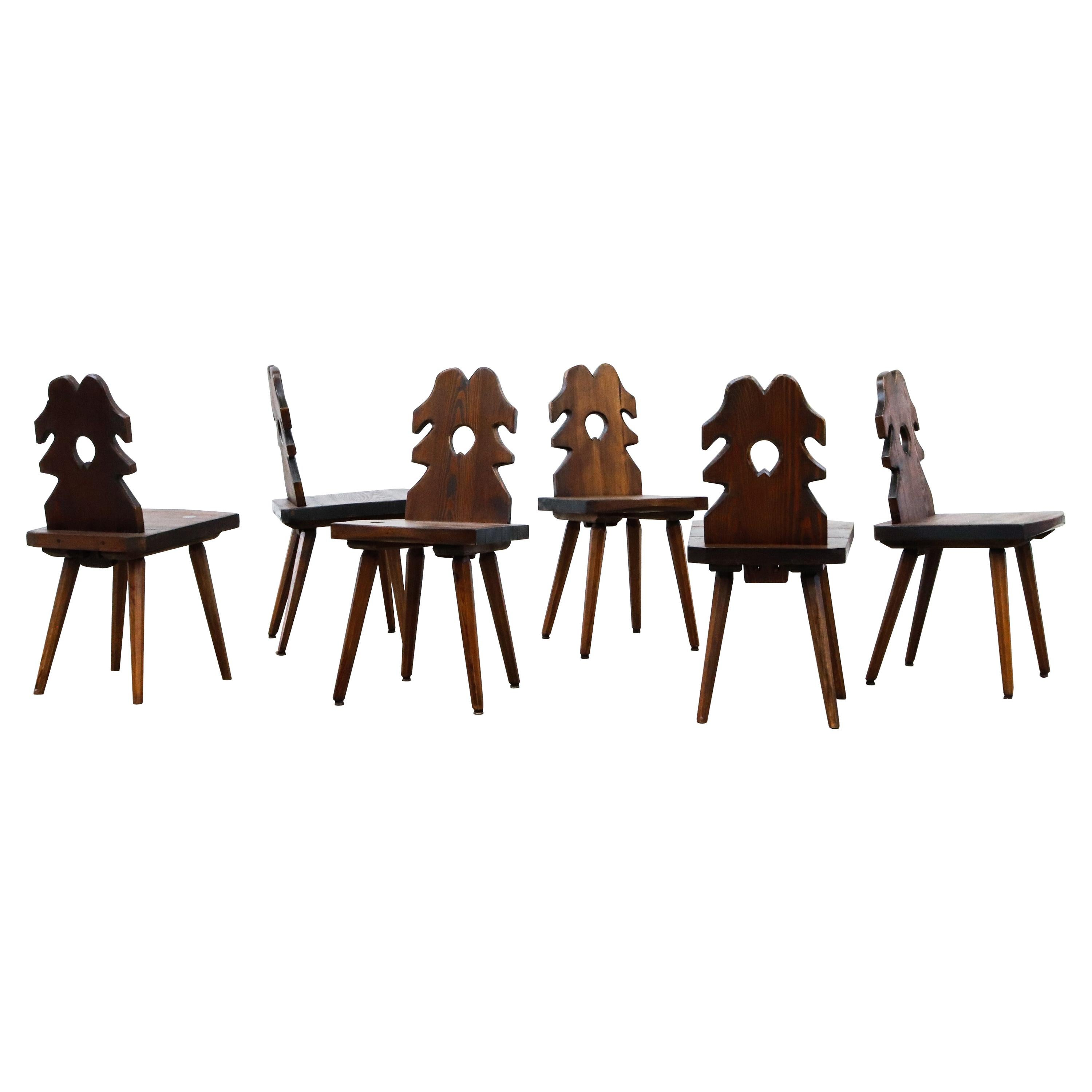 Set of Brutalist Carved French Dining Chairs