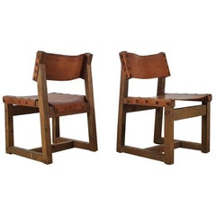 Set of Brutalist Cognac Leather Chairs
