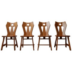 Set of Brutalist Midcentury Blonde Oak Dining Chairs