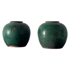Set of circa 1880 Chinese Celadon Glazed Pots