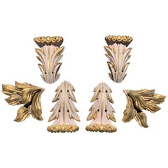 Set of Carved Italian Wooden Parcel Gilt Neoclassical Appliques