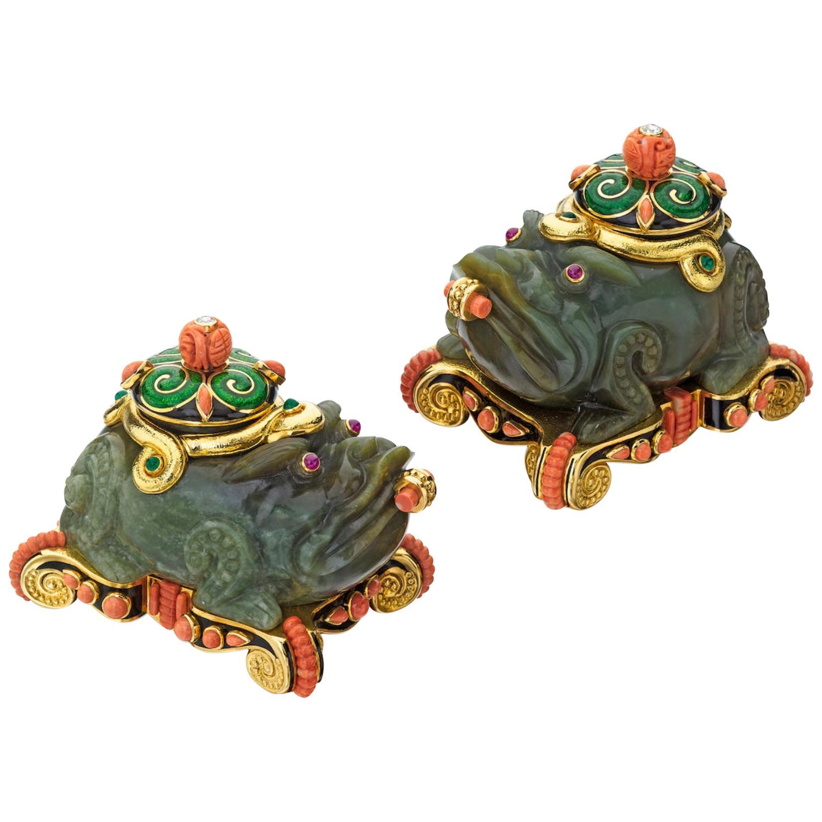 Set of Carved Jade Enamel Coral Diamond and Gem Set Foo-Dog Boxes David Webb
