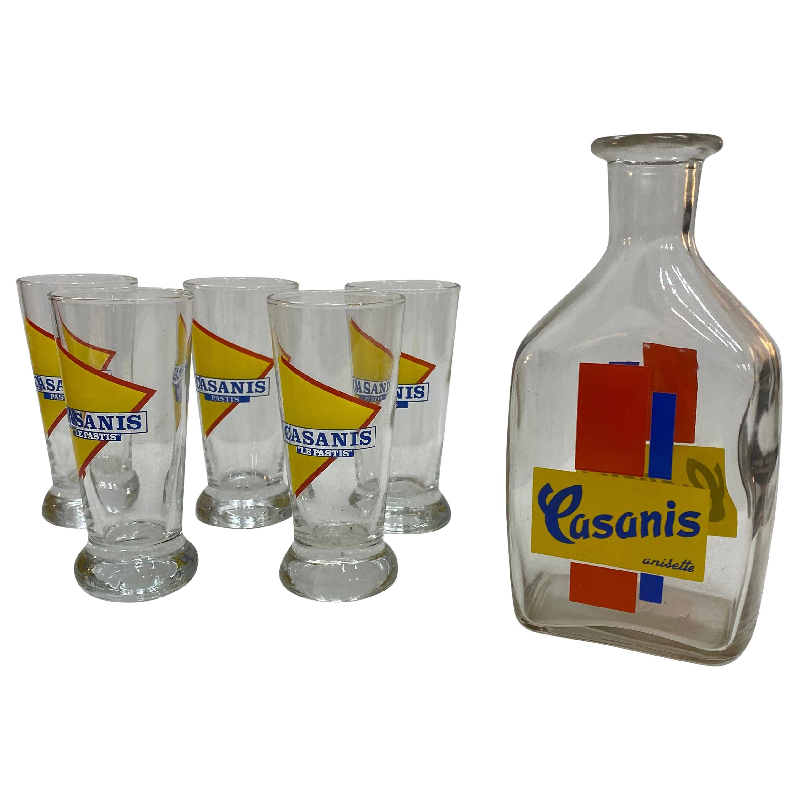 Set of Casanis Antisette Liqueur Glasses and Water Decanter