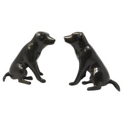 Set of Cast Metal Sculpture of Labrador Dogs Bookends