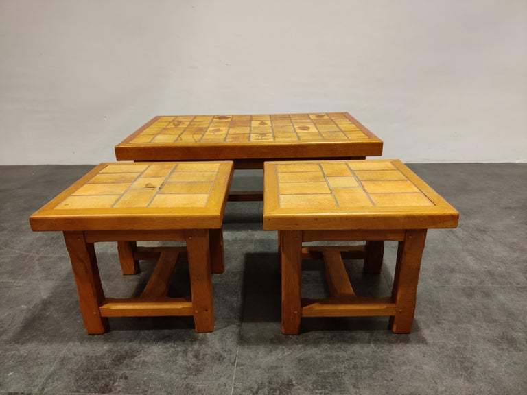 Mid-Century Modern Set of Ceramic Coffee Tables, 1960s For Sale