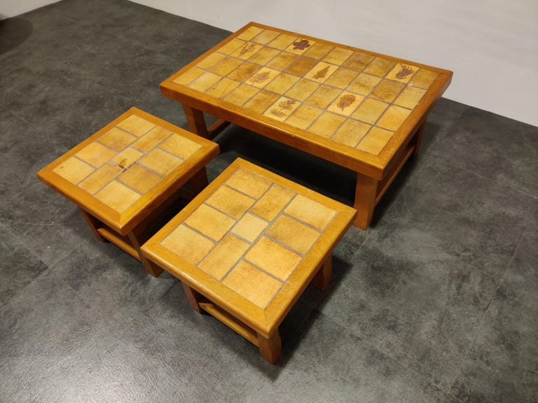 French Set of Ceramic Coffee Tables, 1960s For Sale