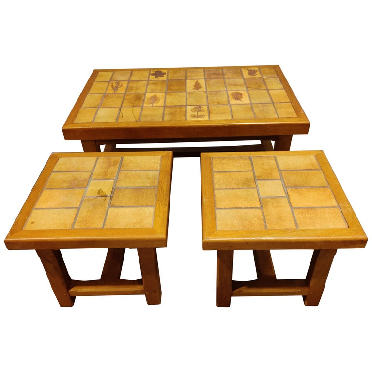 Set of Ceramic Coffee Tables, 1960s For Sale