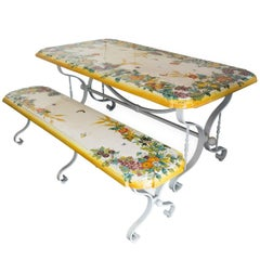 Set of Ceramic Table and Bench