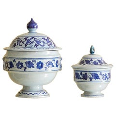 Set of Ceramique Tureens with Blue Flower Decorations, Italy, Late 19th Century