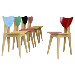 Set of Chair Midcentury Attributed to Gianni Vigorelli in Wood and Formica, 1950