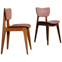 Set of Chairs 6517 by Roger Landault with Suede Fabric