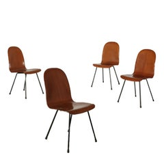 Set of Chairs Bentwood Metal Legs Vintage Italy 1950s-1960s
