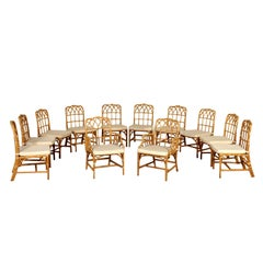 Set of Chairs for McGuire Bamboo Leather Vintage, USA, 1980s