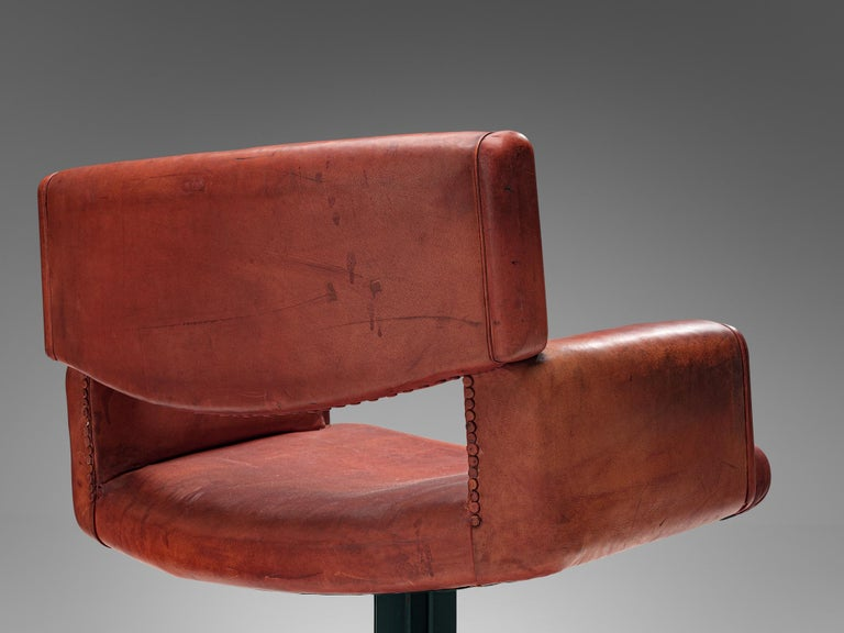 Set of Chairs in Marble and Red Leather For Sale 5