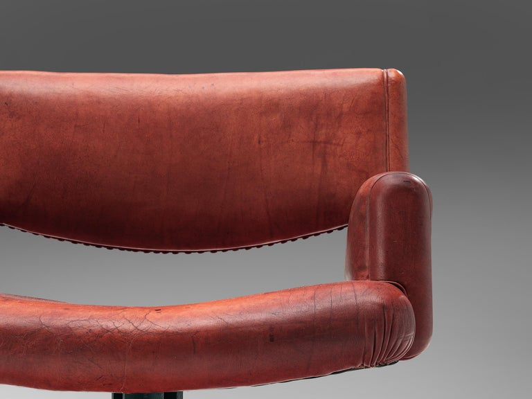 Set of Chairs in Marble and Red Leather For Sale 6