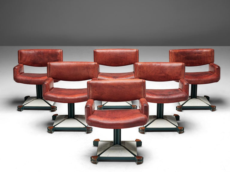Post-Modern Set of Chairs in Marble and Red Leather For Sale