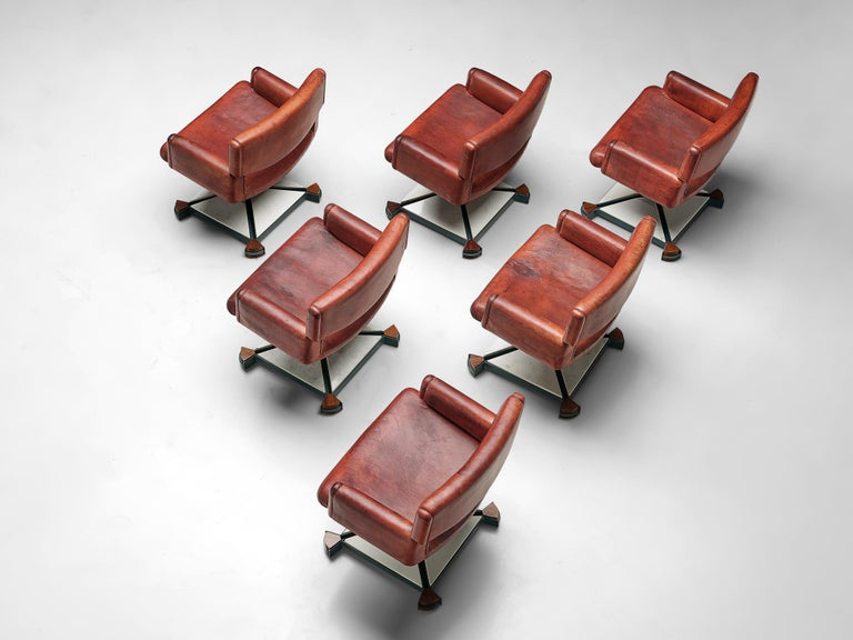 Italian Set of Chairs in Marble and Red Leather For Sale