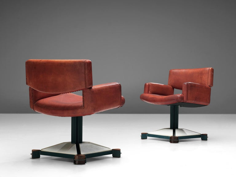 Late 20th Century Set of Chairs in Marble and Red Leather For Sale