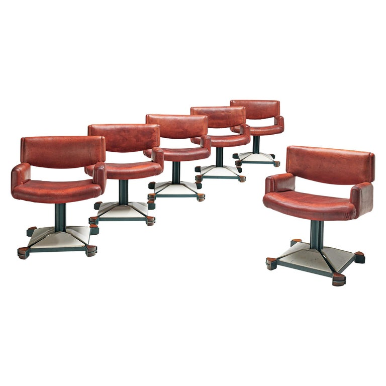 Set of Chairs in Marble and Red Leather For Sale