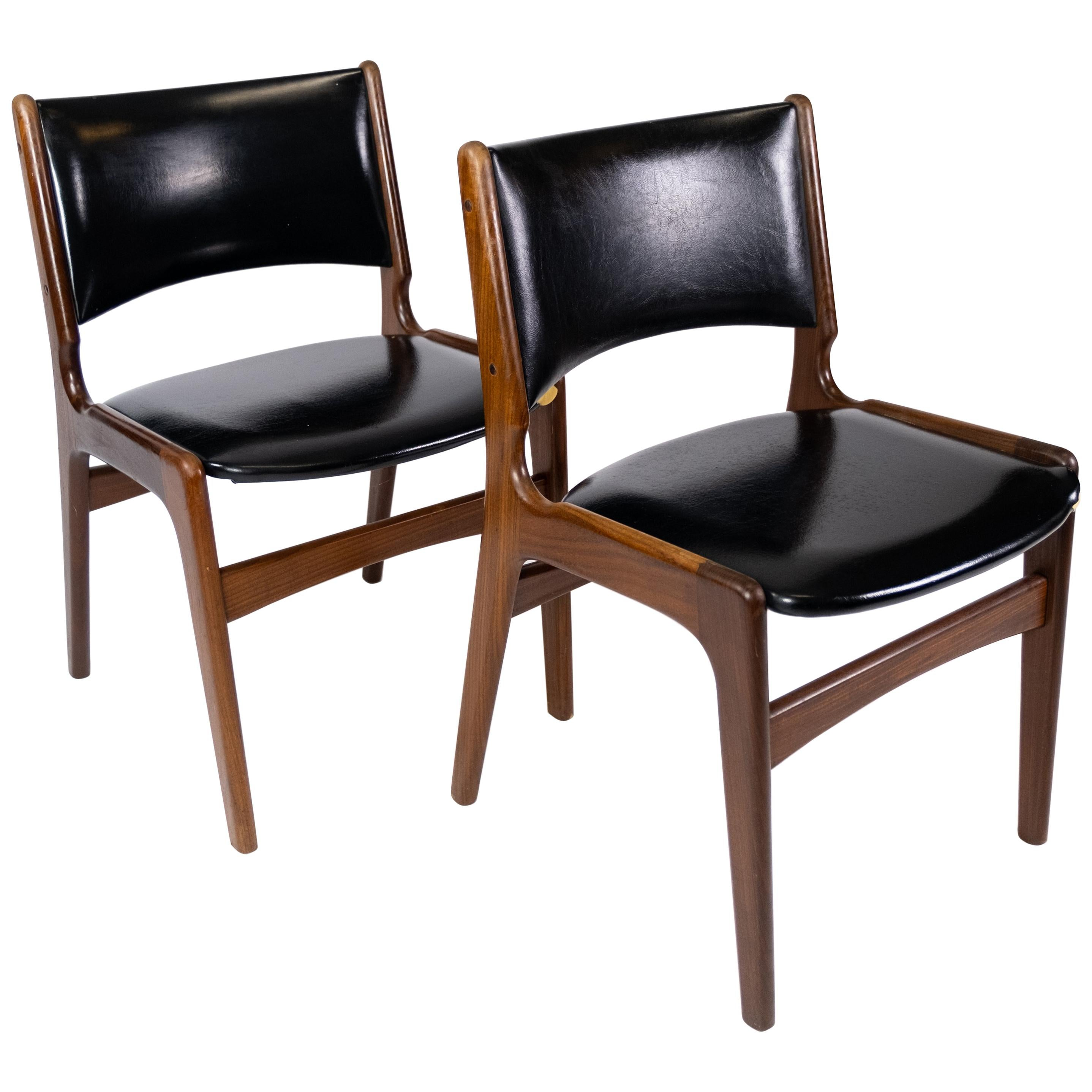 Set of Chairs in Teak and with Black Leather Designed by Erik Buch, 1960s