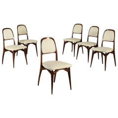 Set of Chairs Mahogany Leatherette Vintage Italy 1950s-1960s