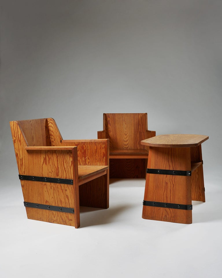 Scandinavian Modern Set of Chairs Plus Table, Anonymous, Sweden, 1950s For Sale