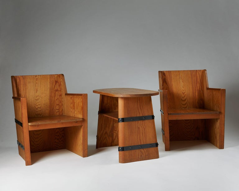 Set of Chairs Plus Table, Anonymous, Sweden, 1950s In Excellent Condition For Sale In Stockholm, SE