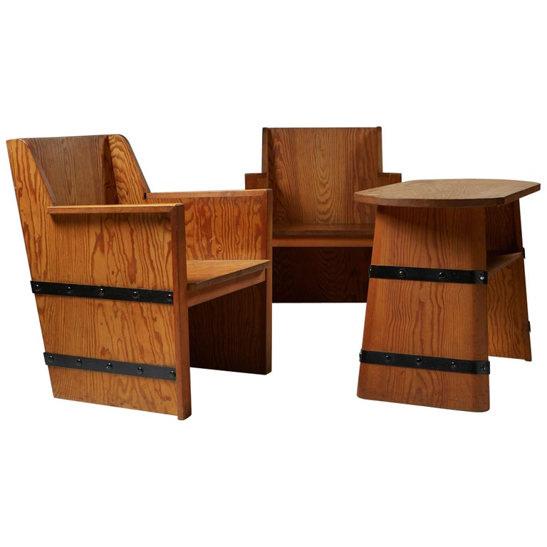 Set of Chairs Plus Table, Anonymous, Sweden, 1950s For Sale