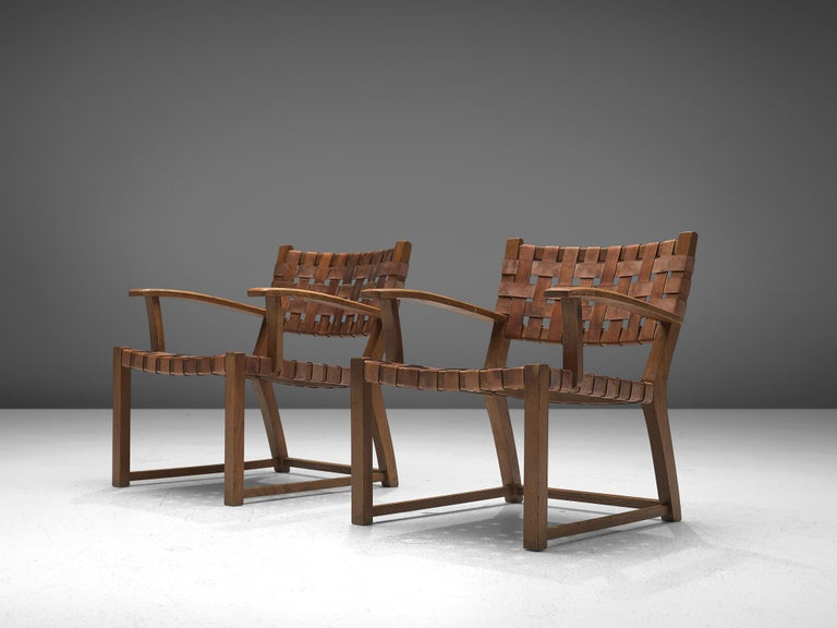 Scandinavian Set of Chairs with Cognac Leather Webbed Back and Seat For Sale