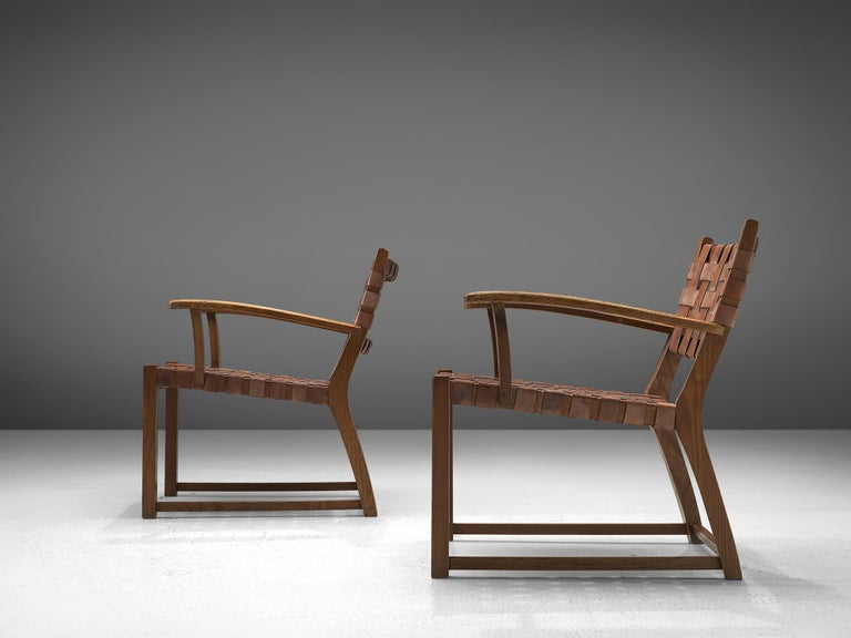 Patinated Set of Chairs with Cognac Leather Webbed Back and Seat For Sale