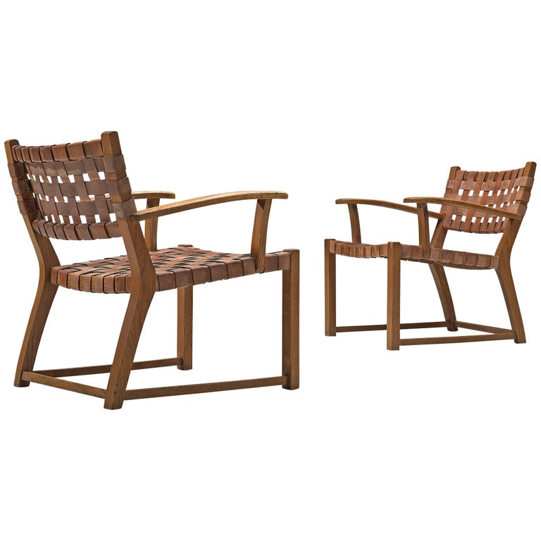 Set of Chairs with Cognac Leather Webbed Back and Seat For Sale