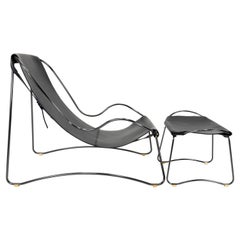 Set of Chaise Longue and Footstool, Black Steel and Black Leather, Modern Design
